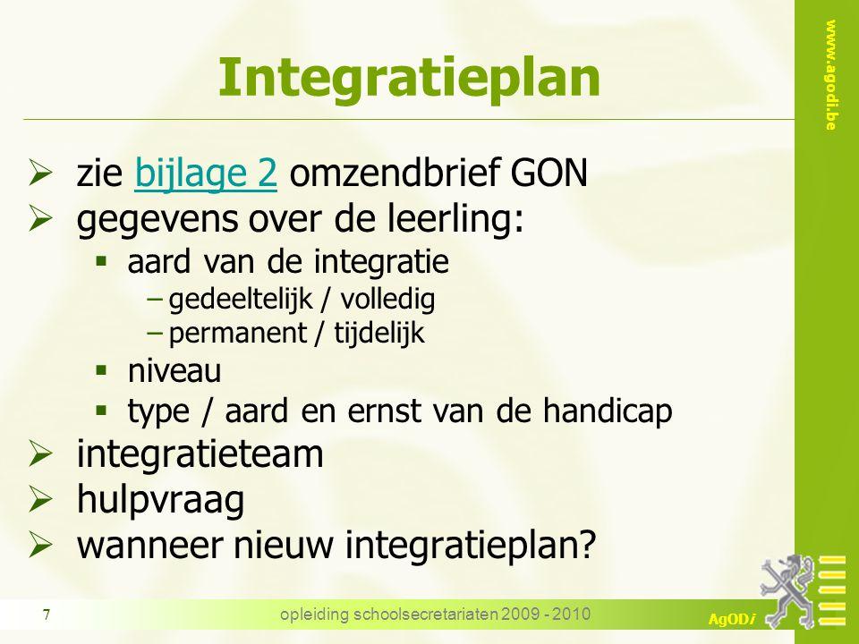 www.agodi.be AgODi opleiding schoolsecretariaten 2009 - 2010 18 Vragen.