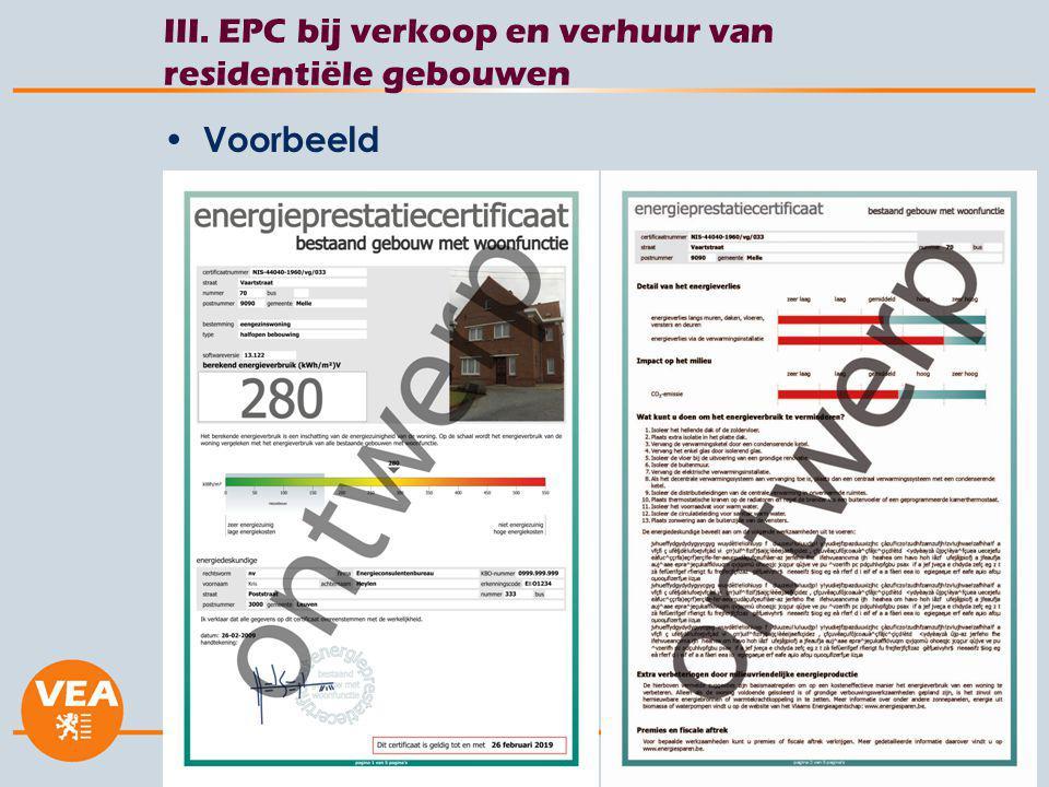 26 juli 2014 III. EPC bij verkoop en verhuur van residentiële gebouwen Voorbeeld