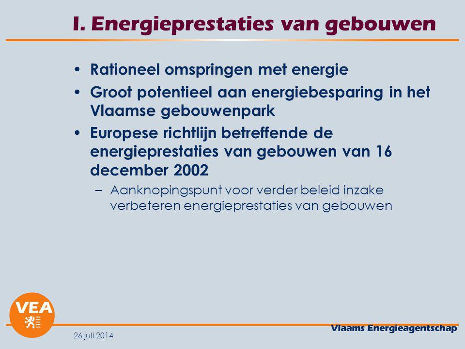 26 juli 2014 I. Energieprestaties van gebouwen Rationeel omspringen met energie Groot potentieel aan energiebesparing in het Vlaamse gebouwenpark Euro
