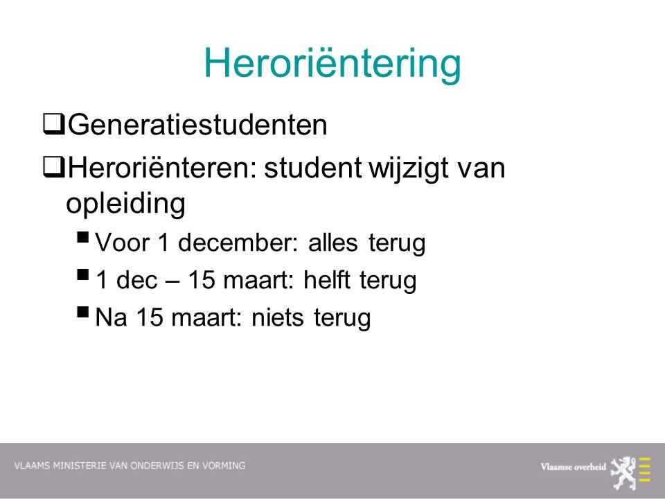 Heroriëntering  Generatiestudenten  Heroriënteren: student wijzigt van opleiding  Voor 1 december: alles terug  1 dec – 15 maart: helft terug  Na