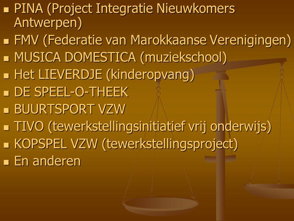 PINA (Project Integratie Nieuwkomers Antwerpen) PINA (Project Integratie Nieuwkomers Antwerpen) FMV (Federatie van Marokkaanse Verenigingen) FMV (Fede