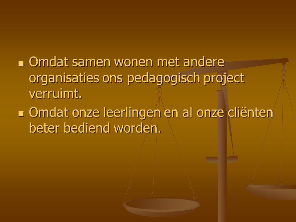 Omdat samen wonen met andere organisaties ons pedagogisch project verruimt. Omdat samen wonen met andere organisaties ons pedagogisch project verruimt