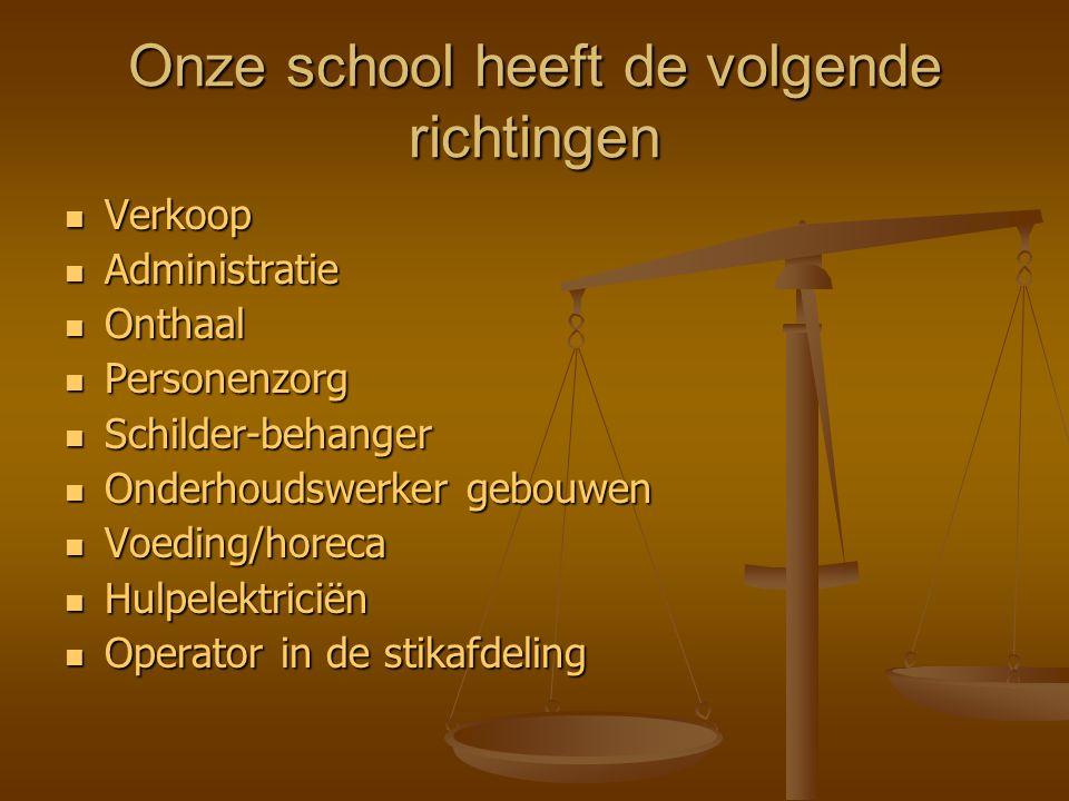 Onze school heeft de volgende richtingen Verkoop Verkoop Administratie Administratie Onthaal Onthaal Personenzorg Personenzorg Schilder-behanger Schil