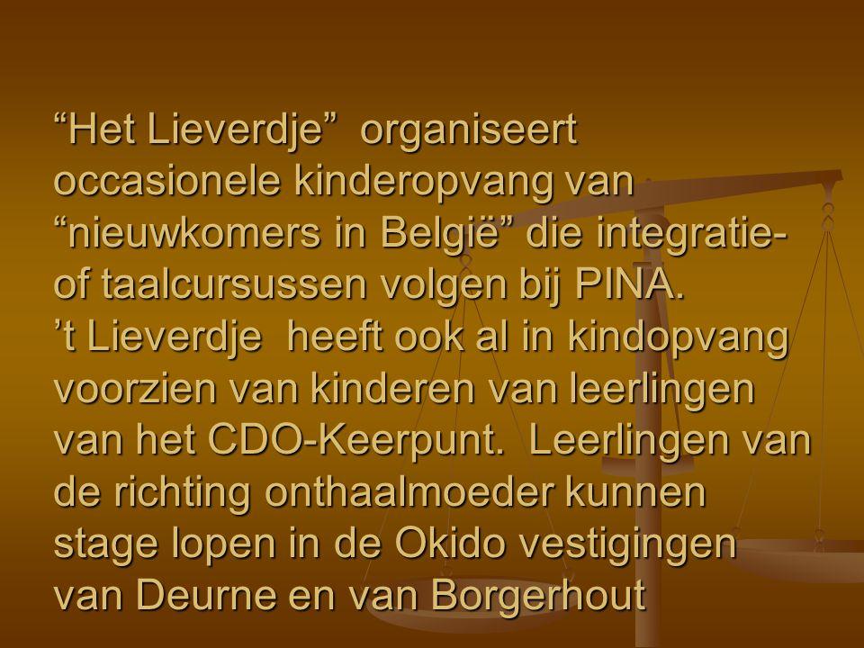 """""""Het Lieverdje"""" organiseert occasionele kinderopvang van """"nieuwkomers in België"""" die integratie- of taalcursussen volgen bij PINA. 't Lieverdje heeft"""