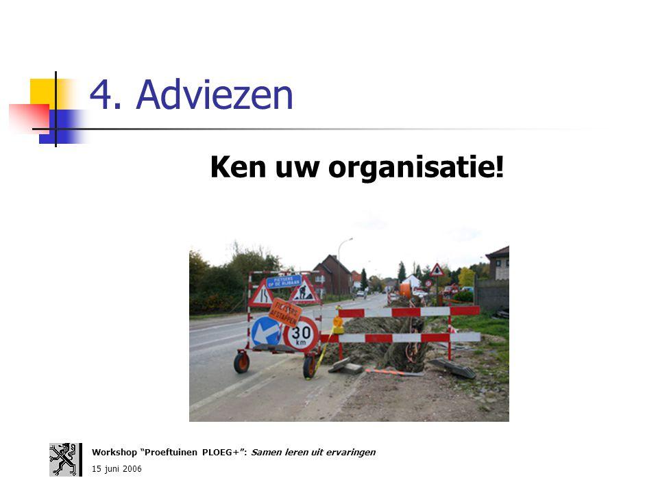"""4. Adviezen Ken uw organisatie! Workshop """"Proeftuinen PLOEG+"""": Samen leren uit ervaringen 15 juni 2006"""