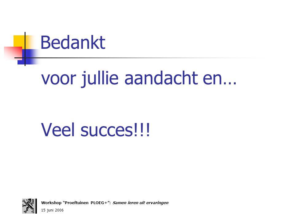 """Bedankt voor jullie aandacht en… Veel succes!!! Workshop """"Proeftuinen PLOEG+"""": Samen leren uit ervaringen 15 juni 2006"""