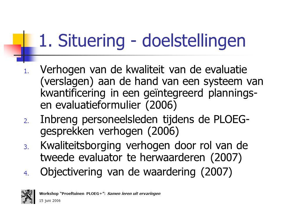 1. Situering - doelstellingen 1. Verhogen van de kwaliteit van de evaluatie (verslagen) aan de hand van een systeem van kwantificering in een geïntegr