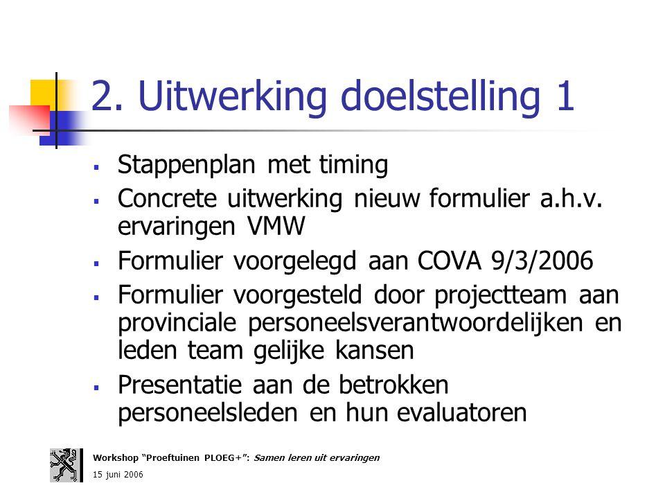 2. Uitwerking doelstelling 1  Stappenplan met timing  Concrete uitwerking nieuw formulier a.h.v. ervaringen VMW  Formulier voorgelegd aan COVA 9/3/