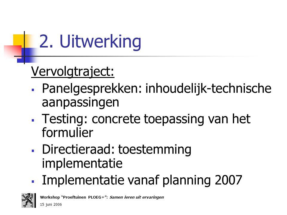 2. Uitwerking Vervolgtraject:  Panelgesprekken: inhoudelijk-technische aanpassingen  Testing: concrete toepassing van het formulier  Directieraad: