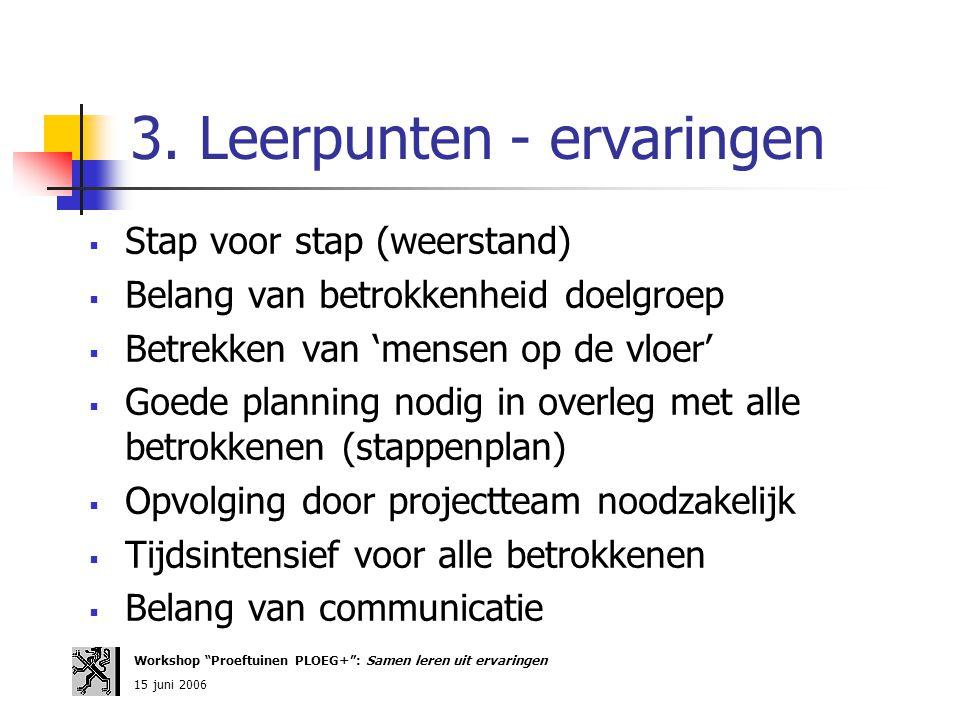 3. Leerpunten - ervaringen  Stap voor stap (weerstand)  Belang van betrokkenheid doelgroep  Betrekken van 'mensen op de vloer'  Goede planning nod