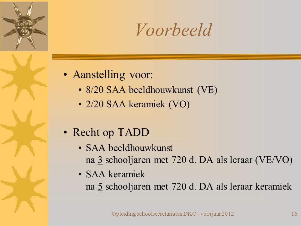 Voorbeeld Aanstelling voor: 8/20 SAA beeldhouwkunst (VE) 2/20 SAA keramiek (VO) Recht op TADD SAA beeldhouwkunst na 3 schooljaren met 720 d. DA als le