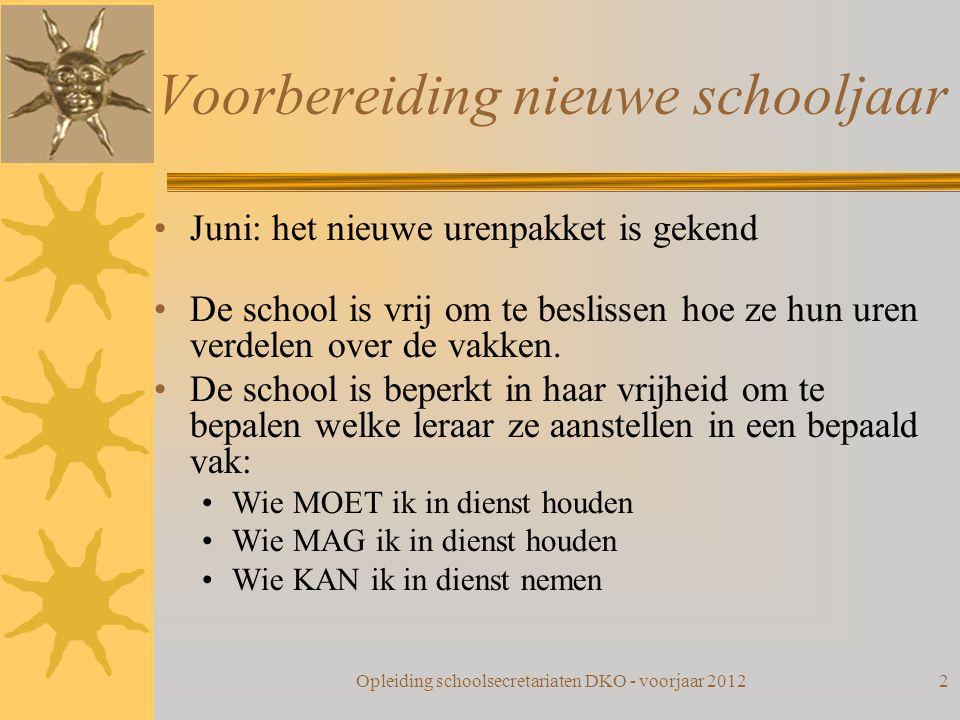 Voorbereiding nieuwe schooljaar Juni: het nieuwe urenpakket is gekend De school is vrij om te beslissen hoe ze hun uren verdelen over de vakken. De sc