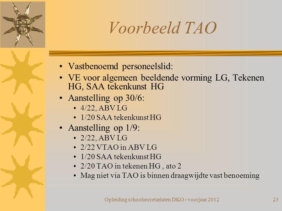 Voorbeeld TAO Vastbenoemd personeelslid: VE voor algemeen beeldende vorming LG, Tekenen HG, SAA tekenkunst HG Aanstelling op 30/6: 4/22, ABV LG 1/20 S