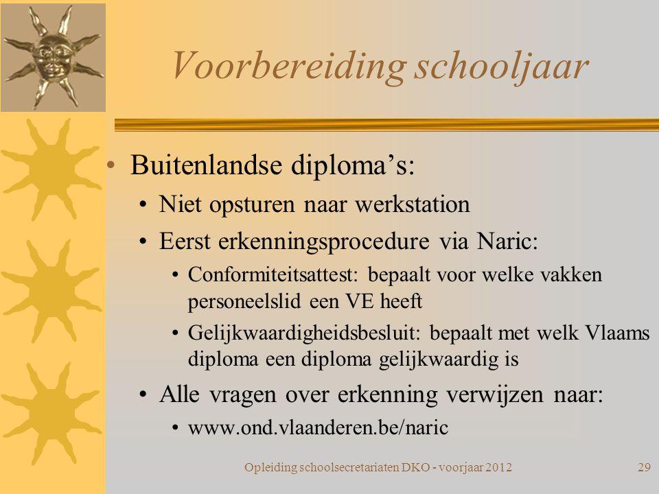 Voorbereiding schooljaar Buitenlandse diploma's: Niet opsturen naar werkstation Eerst erkenningsprocedure via Naric: Conformiteitsattest: bepaalt voor