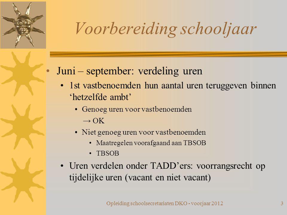 Voorbereiding schooljaar Juni – september: verdeling uren 1st vastbenoemden hun aantal uren teruggeven binnen 'hetzelfde ambt' Genoeg uren voor vastbe