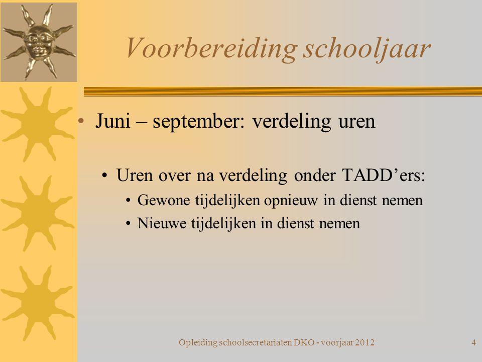 Voorbereiding schooljaar Juni – september: verdeling uren Uren over na verdeling onder TADD'ers: Gewone tijdelijken opnieuw in dienst nemen Nieuwe tij