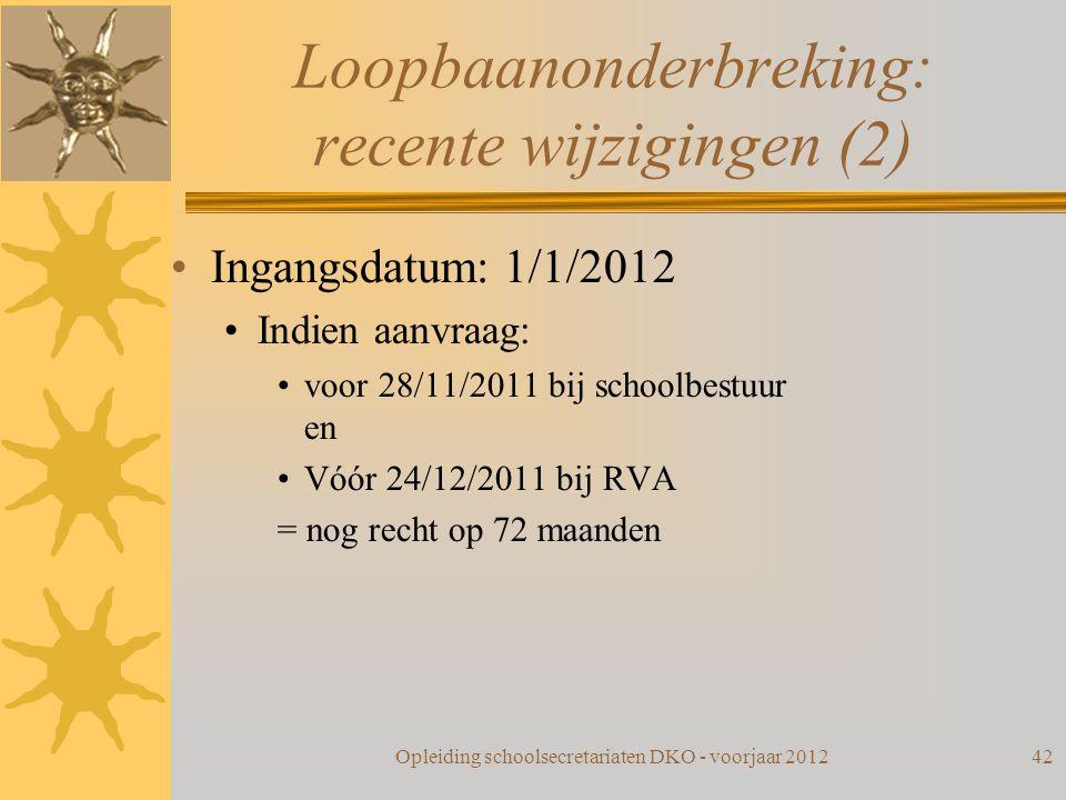 Loopbaanonderbreking: recente wijzigingen (2) Ingangsdatum: 1/1/2012 Indien aanvraag: voor 28/11/2011 bij schoolbestuur en Vóór 24/12/2011 bij RVA = n