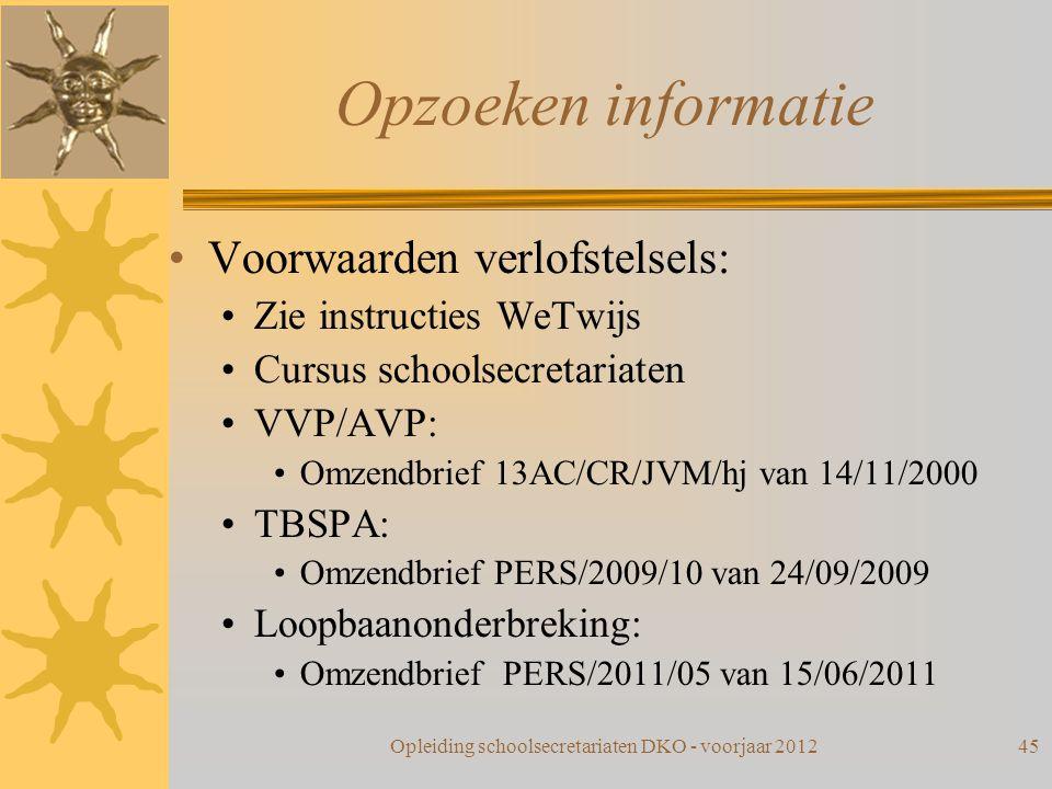 Opzoeken informatie Voorwaarden verlofstelsels: Zie instructies WeTwijs Cursus schoolsecretariaten VVP/AVP: Omzendbrief 13AC/CR/JVM/hj van 14/11/2000