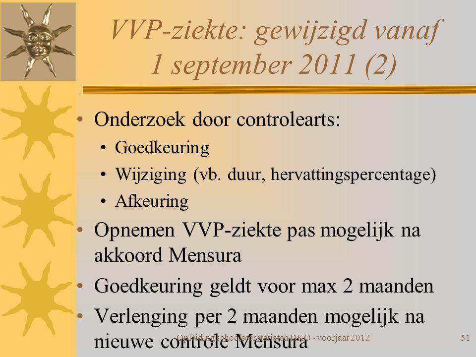 VVP-ziekte: gewijzigd vanaf 1 september 2011 (2) Onderzoek door controlearts: Goedkeuring Wijziging (vb. duur, hervattingspercentage) Afkeuring Opneme
