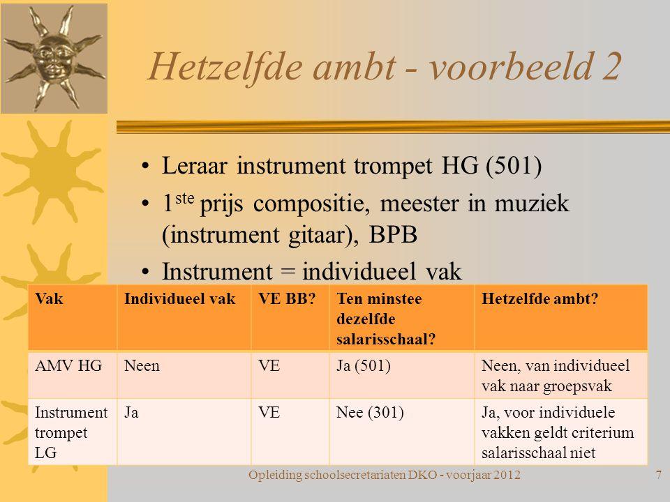 Hetzelfde ambt - voorbeeld 2 Leraar instrument trompet HG (501) 1 ste prijs compositie, meester in muziek (instrument gitaar), BPB Instrument = indivi