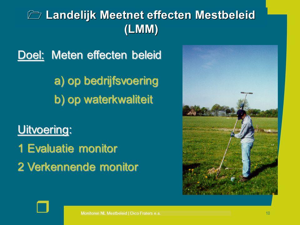 Monitoren NL Mestbeleid | Dico Fraters e.a. r 10 Doel: Meten effecten beleid a) op bedrijfsvoering a) op bedrijfsvoering b) op waterkwaliteit b) op wa