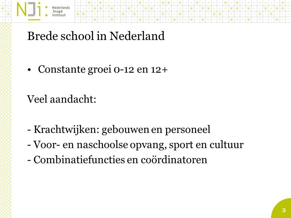 3 Brede school in Nederland Constante groei 0-12 en 12+ Veel aandacht: - Krachtwijken: gebouwen en personeel - Voor- en naschoolse opvang, sport en cultuur - Combinatiefuncties en coördinatoren