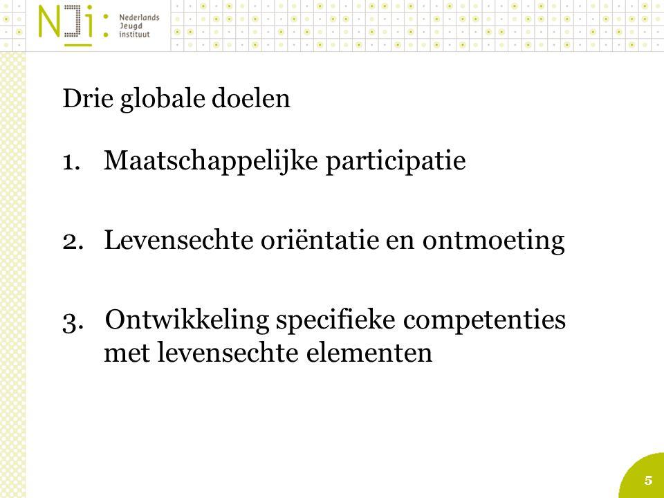 5 Drie globale doelen 1.Maatschappelijke participatie 2.Levensechte oriëntatie en ontmoeting 3.