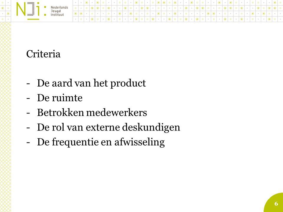 6 Criteria -De aard van het product -De ruimte -Betrokken medewerkers -De rol van externe deskundigen -De frequentie en afwisseling