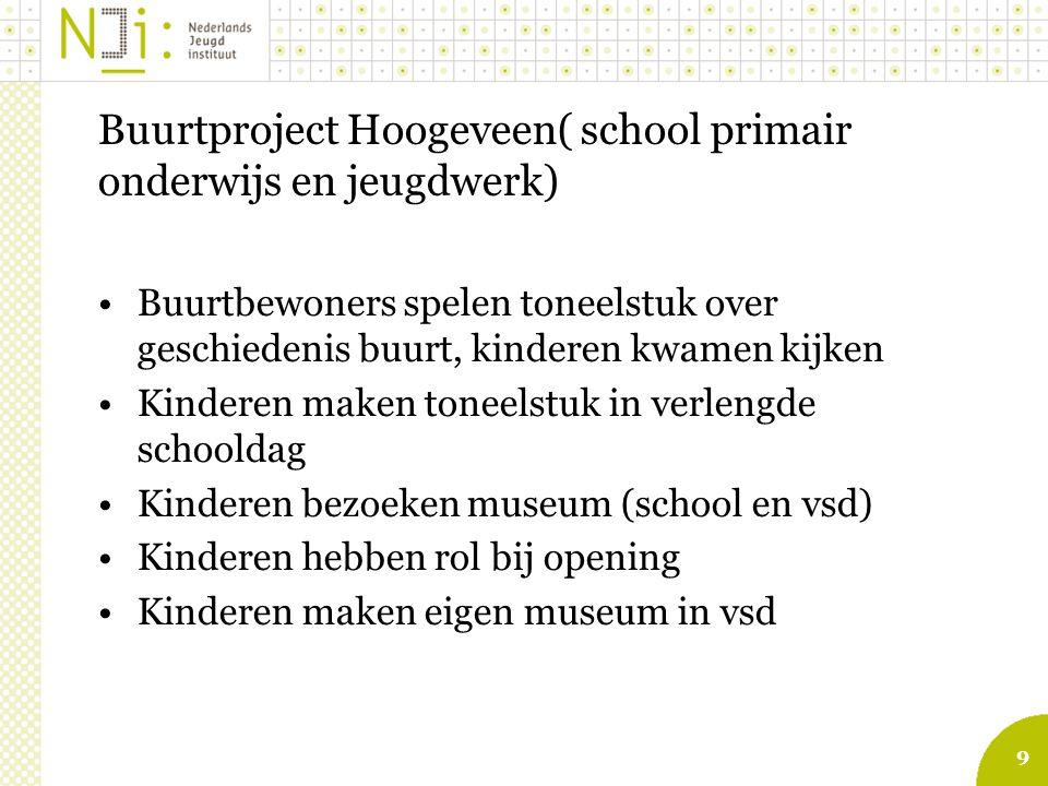 9 Buurtproject Hoogeveen( school primair onderwijs en jeugdwerk) Buurtbewoners spelen toneelstuk over geschiedenis buurt, kinderen kwamen kijken Kinderen maken toneelstuk in verlengde schooldag Kinderen bezoeken museum (school en vsd) Kinderen hebben rol bij opening Kinderen maken eigen museum in vsd