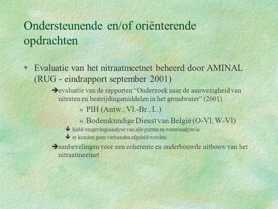 Ondersteunende en/of oriënterende opdrachten §Evaluatie van het nitraatmeetnet beheerd door AMINAL (RUG - eindrapport september 2001) èevaluatie van de rapporten Onderzoek naar de aanwezigheid van nitraten en bestrijdingsmiddelen in het grondwater (2001) »PIH (Antw., Vl.-Br., L.) »Bodemkundige Dienst van België (O-Vl, W-Vl) êhield omgevingsanalyse van alle putten en wateranalyse in êer konden geen verbanden afgeleid worden èaanbevelingen voor een coherente en onderbouwde uitbouw van het nitraatmeetnet