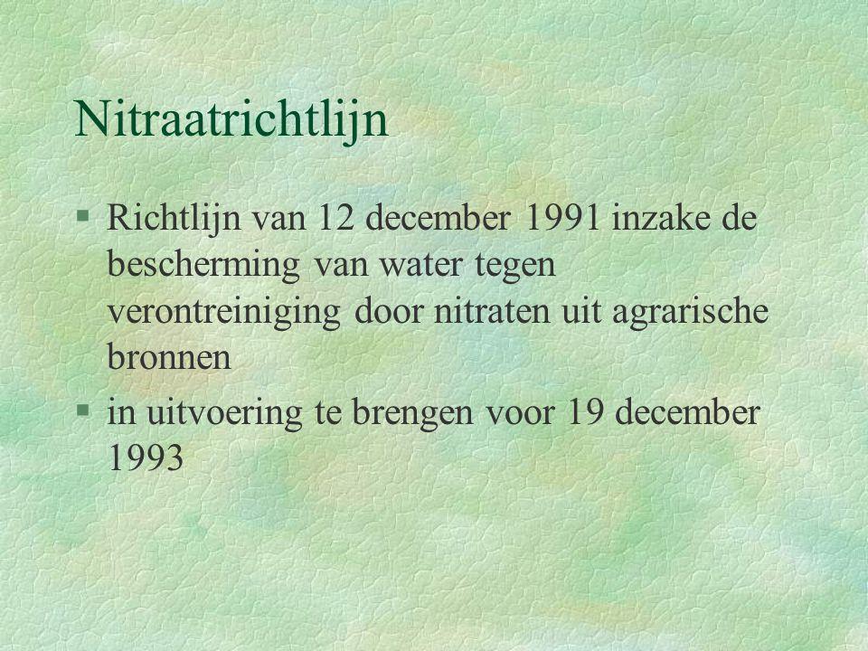 Nitraatrichtlijn §Richtlijn van 12 december 1991 inzake de bescherming van water tegen verontreiniging door nitraten uit agrarische bronnen §in uitvoering te brengen voor 19 december 1993