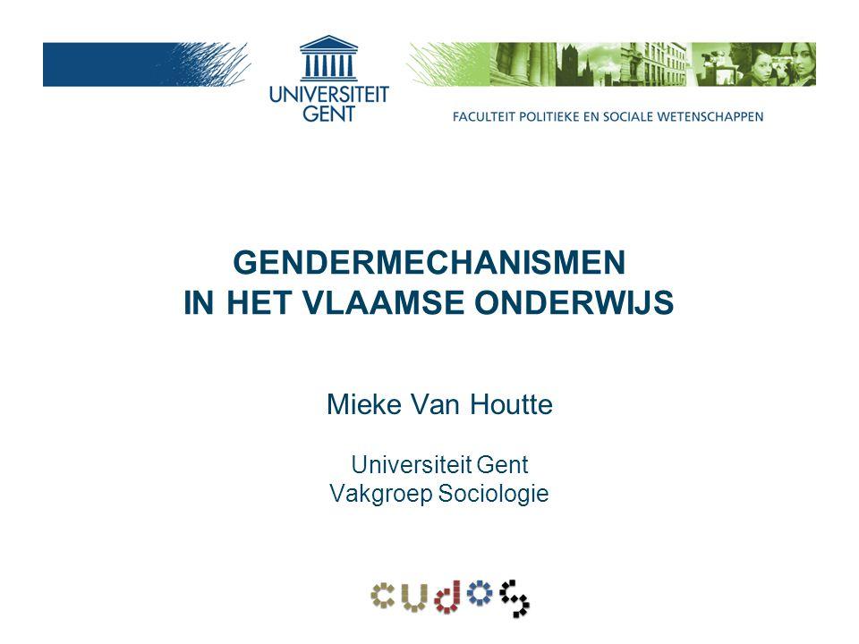 Conclusie -ook in Vlaanderen duidelijke genderkloof -manifesteert zich vooral vanaf secundair onderwijs -gevolgen voor hoger onderwijs -maar: - op hoogste niveau vrouwen toch weer in de minderheid - horizontale seksesegregatie in secundair en hoger onderwijs