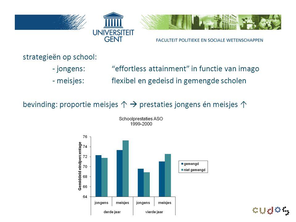 strategieën op school: - jongens: effortless attainment in functie van imago - meisjes:flexibel en gedeisd in gemengde scholen bevinding: proportie meisjes ↑  prestaties jongens én meisjes ↑