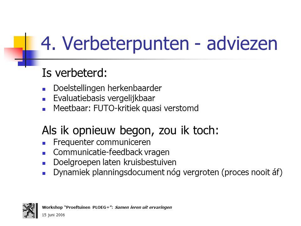 4. Verbeterpunten - adviezen Is verbeterd: Doelstellingen herkenbaarder Evaluatiebasis vergelijkbaar Meetbaar: FUTO-kritiek quasi verstomd Als ik opni