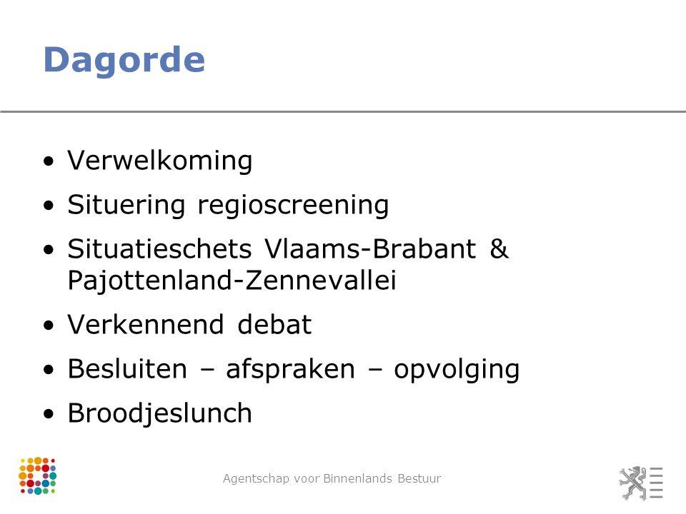 Dagorde Verwelkoming Situering regioscreening Situatieschets Vlaams-Brabant & Pajottenland-Zennevallei Verkennend debat Besluiten – afspraken – opvolging Broodjeslunch Agentschap voor Binnenlands Bestuur