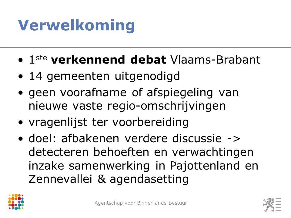 Verwelkoming Agentschap voor Binnenlands Bestuur 1 ste verkennend debat Vlaams-Brabant 14 gemeenten uitgenodigd geen voorafname of afspiegeling van ni