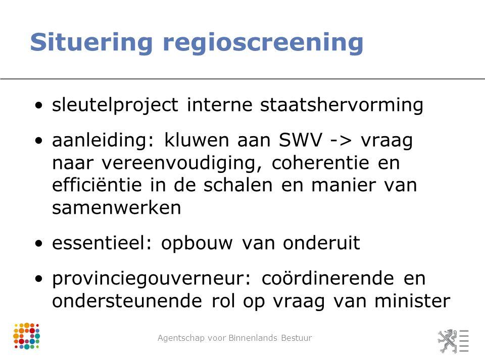 Situering regioscreening Agentschap voor Binnenlands Bestuur sleutelproject interne staatshervorming aanleiding: kluwen aan SWV -> vraag naar vereenvo