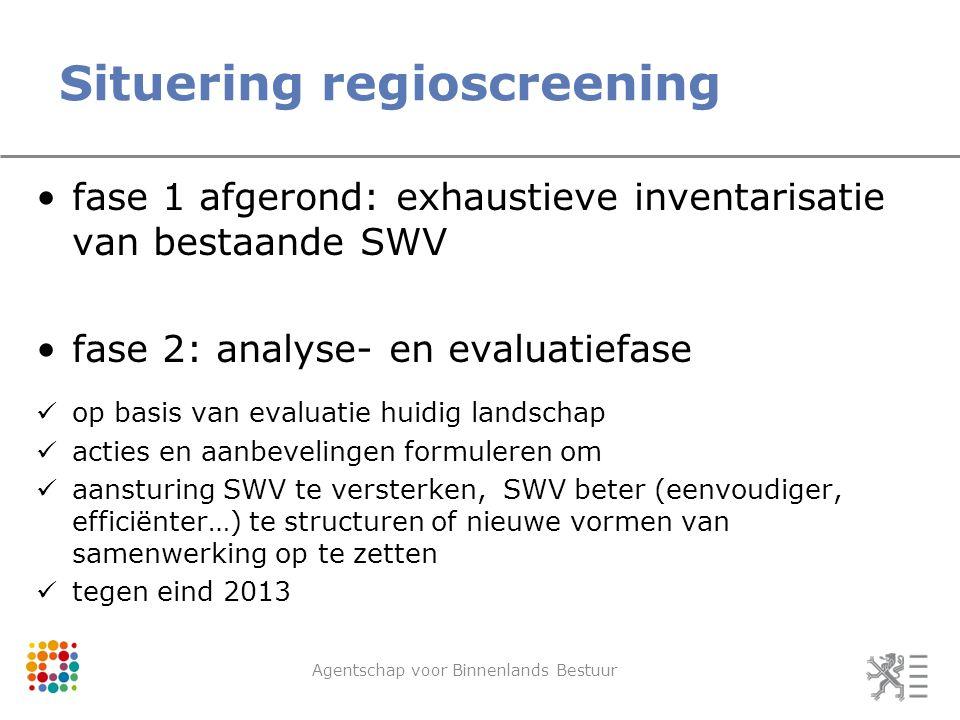 Situering regioscreening Agentschap voor Binnenlands Bestuur fase 1 afgerond: exhaustieve inventarisatie van bestaande SWV fase 2: analyse- en evaluat