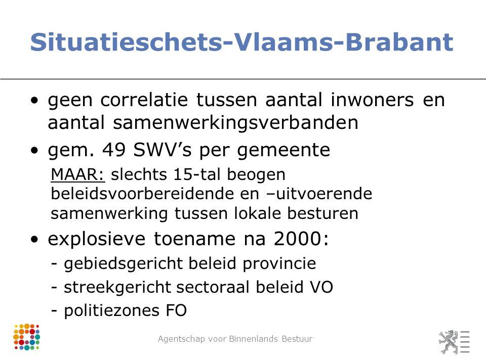 Situatieschets-Vlaams-Brabant Agentschap voor Binnenlands Bestuur geen correlatie tussen aantal inwoners en aantal samenwerkingsverbanden gem. 49 SWV'