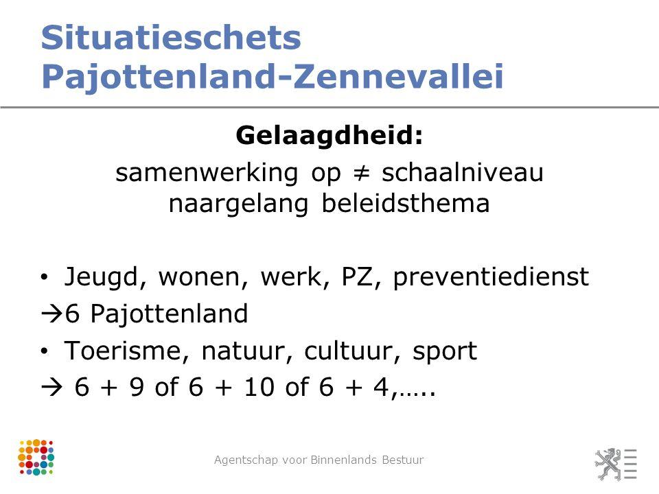 Situatieschets Pajottenland-Zennevallei Agentschap voor Binnenlands Bestuur Gelaagdheid: samenwerking op ≠ schaalniveau naargelang beleidsthema Jeugd,