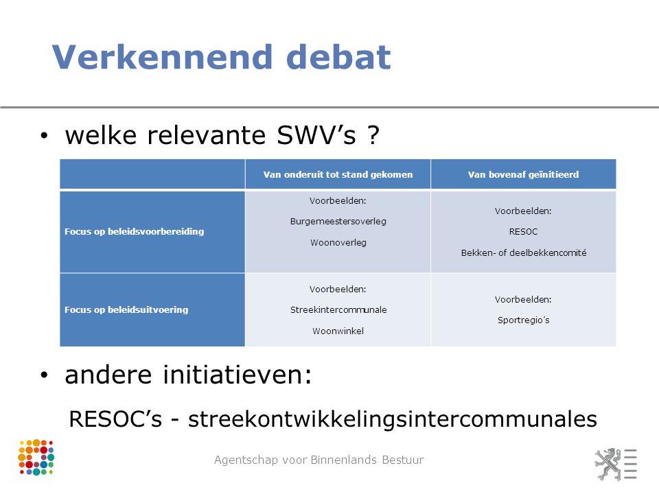 Verkennend debat Agentschap voor Binnenlands Bestuur welke relevante SWV's ? andere initiatieven: RESOC's - streekontwikkelingsintercommunales Van ond