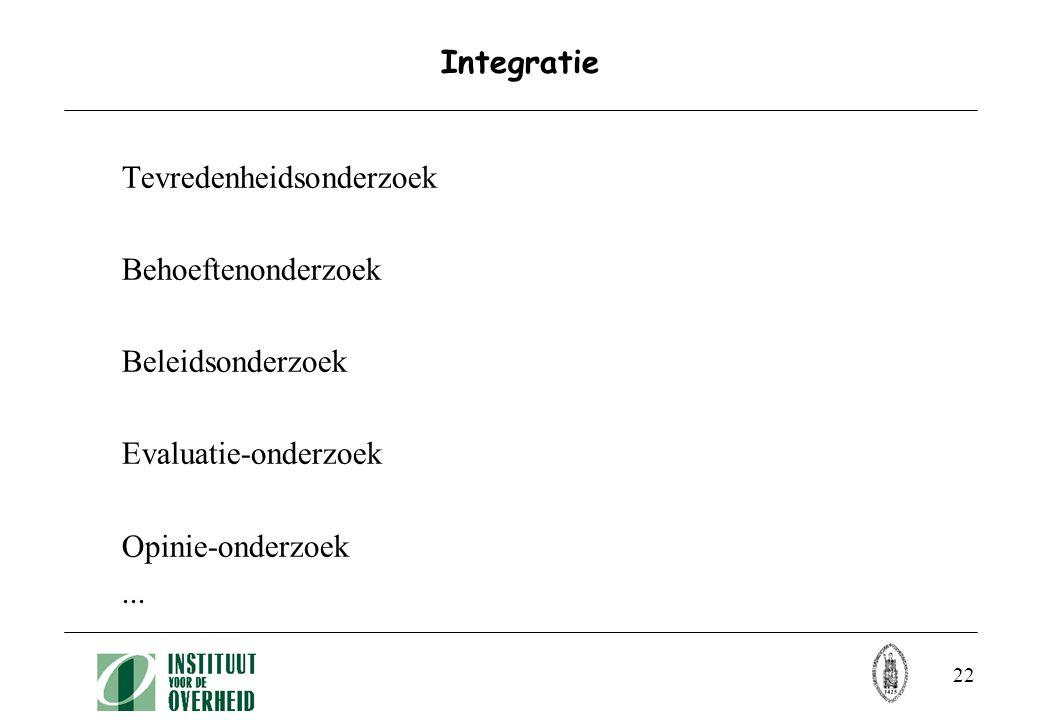 22 Integratie Tevredenheidsonderzoek Behoeftenonderzoek Beleidsonderzoek Evaluatie-onderzoek Opinie-onderzoek...