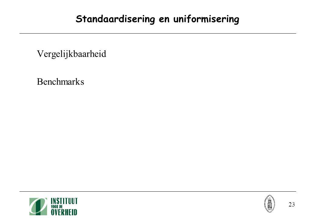 23 Standaardisering en uniformisering Vergelijkbaarheid Benchmarks