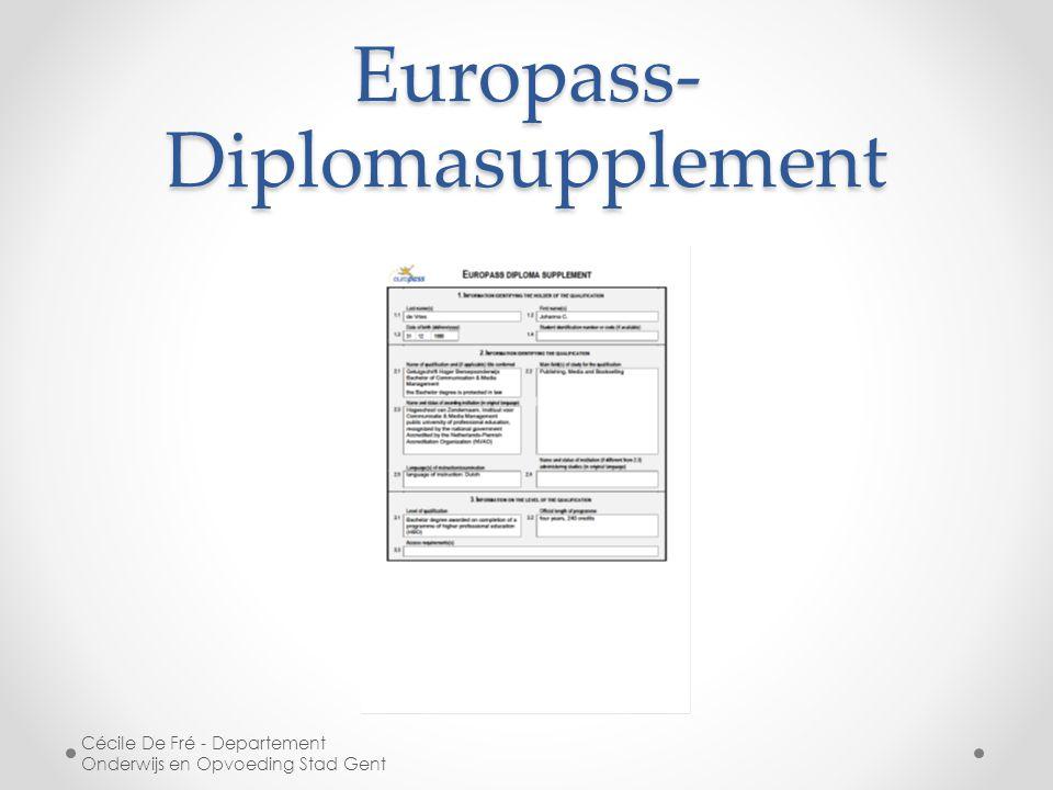 Europass- Diplomasupplement Cécile De Fré - Departement Onderwijs en Opvoeding Stad Gent