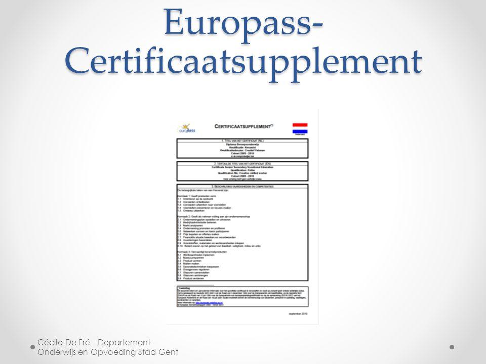 Europass- Certificaatsupplement Cécile De Fré - Departement Onderwijs en Opvoeding Stad Gent
