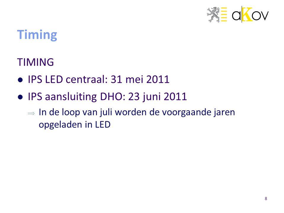 8 Timing TIMING IPS LED centraal: 31 mei 2011 IPS aansluiting DHO: 23 juni 2011  In de loop van juli worden de voorgaande jaren opgeladen in LED
