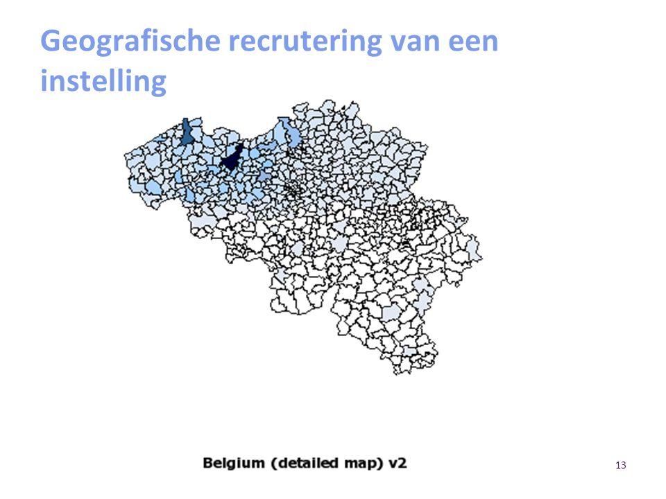 13 Geografische recrutering van een instelling