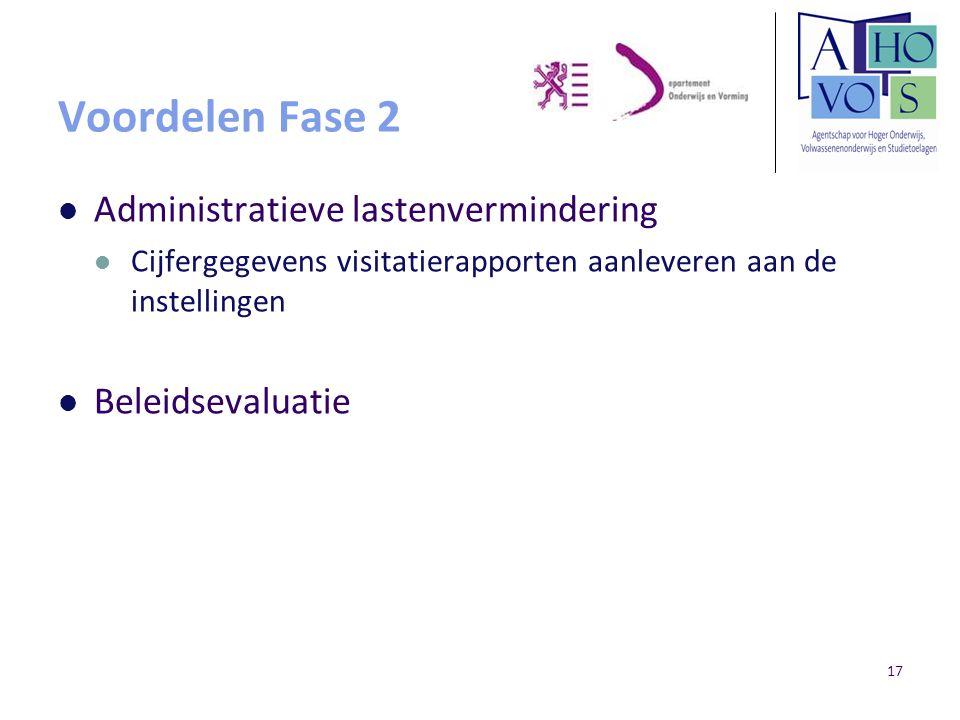 17 Voordelen Fase 2 Administratieve lastenvermindering Cijfergegevens visitatierapporten aanleveren aan de instellingen Beleidsevaluatie