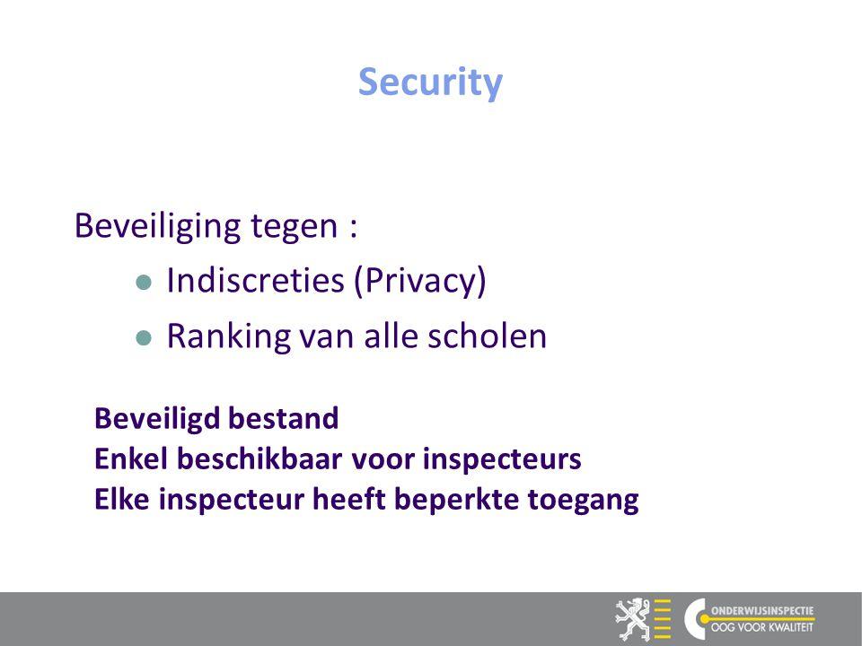 15 Beveiliging tegen : Indiscreties (Privacy) Ranking van alle scholen Security Beveiligd bestand Enkel beschikbaar voor inspecteurs Elke inspecteur heeft beperkte toegang