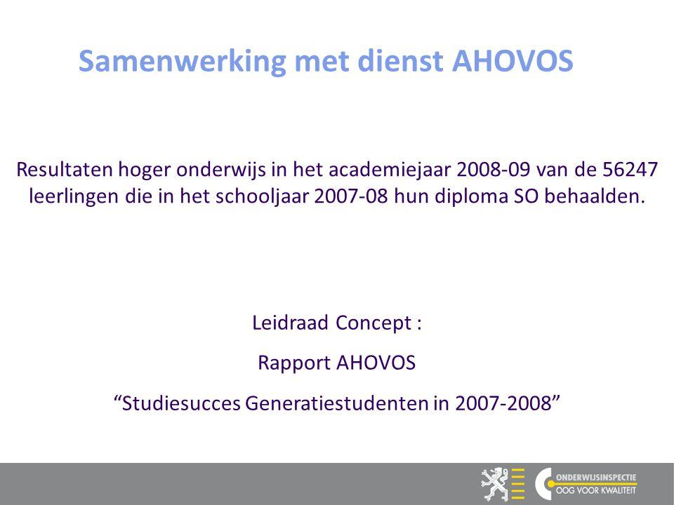 6 6 Samenwerking met dienst AHOVOS Resultaten hoger onderwijs in het academiejaar 2008-09 van de 56247 leerlingen die in het schooljaar 2007-08 hun diploma SO behaalden.